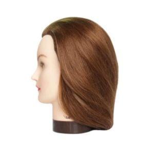 Fryzjerska główka treningowa włosy brąz 20-30cm