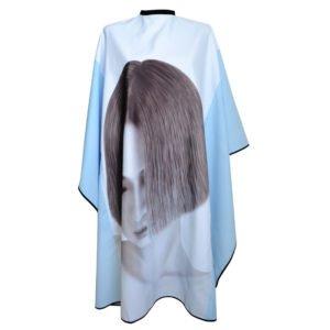 Peleryna fryzjerska z nadrukiem błękitna