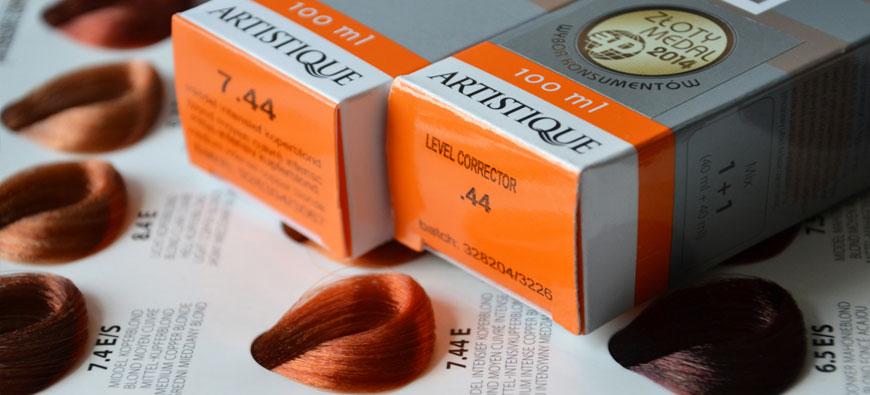 Artistique paleta kolorów farb do włosów - 7.44średni blond intensywny miedziany plus level corrector