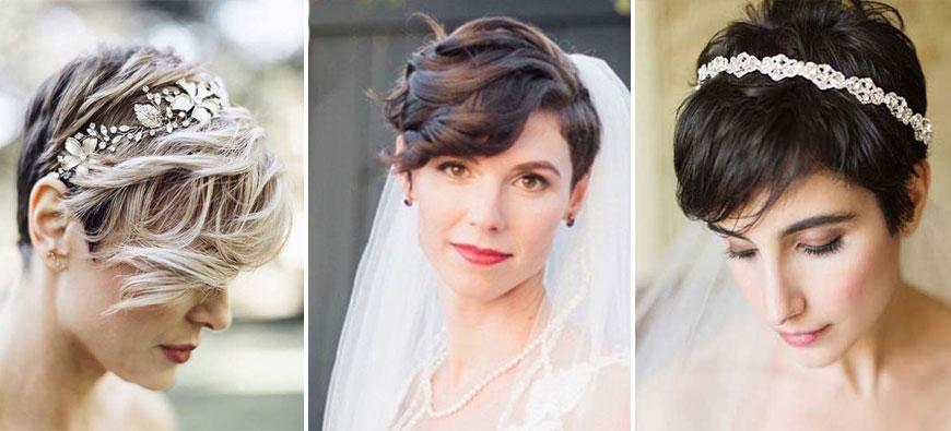 Propozycje fryzur ślubnych - włosy krótkie