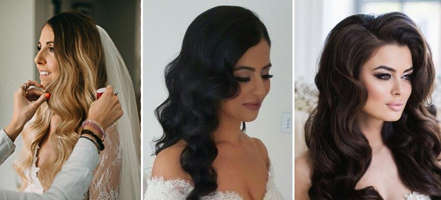 Katalog fryzur ślubnych 2020 - hollywoodzkie fale