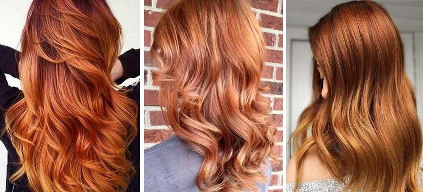 Jesienne trendy w koloryzacji włosów 2020 - miedziany koniak
