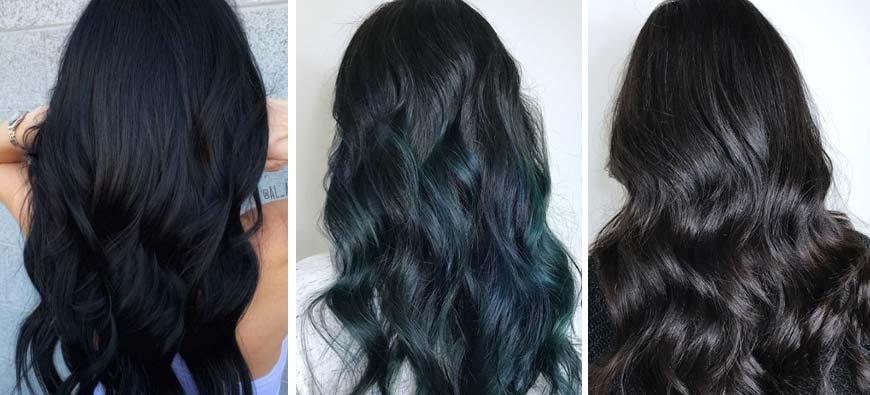 Jesienne trendy w koloryzacji włosów - czarne włosy